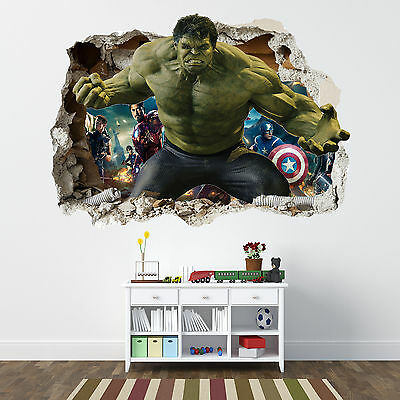 Incredible Hulk Smashed Wall Sticker - Bedroom Boys Avengers Vinyl Wall Art