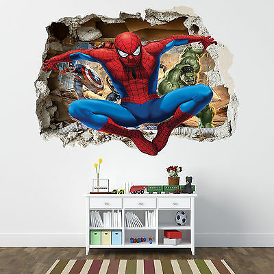 Spiderman Smashed Wall Sticker - Bedroom Boys Avengers Vinyl Wall Art
