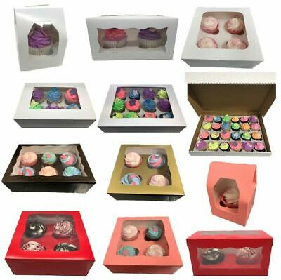 Windowed Cupcake Boxes for 1, 2, 4, 6, & 12 Cup Cakes With Removable Inner Trays