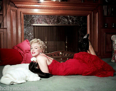 Marilyn Monroe lying on floor by fireplace in red gown candid rare 8x10 photo