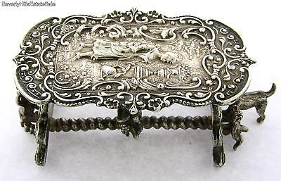 Antique Continental Silver Figural Minature Table Figurine With Cherubs and Dog