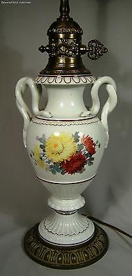 Antique Meissen Porcelain Lamp Snake Handled Vase With Flowers