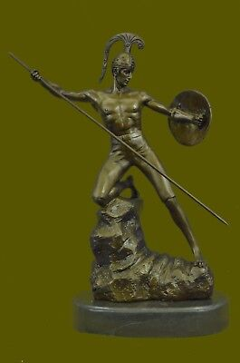 Bronze Statue on Marble Roman Soldier Spartan Warrior Sculpture Fast Shipping