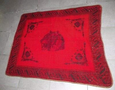 Vintage Antique Horse Hair Sleigh Lap Blanket Red With Tiger Head & Guns