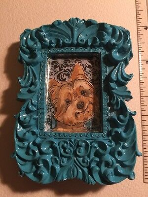 Small Yorkshire Terrier Head Shot In A Min Teal Frame. An Original Art By NFISH