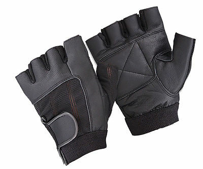 Real Leather Padded Weight Lifting Training Gym Cycling Wheelchair Sports Gloves