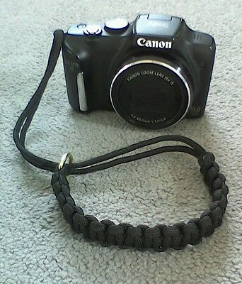 Paracord CAMERA to WRIST STRAP *Hand woven in UK* LANYARD BLACK + Loop Clasp
