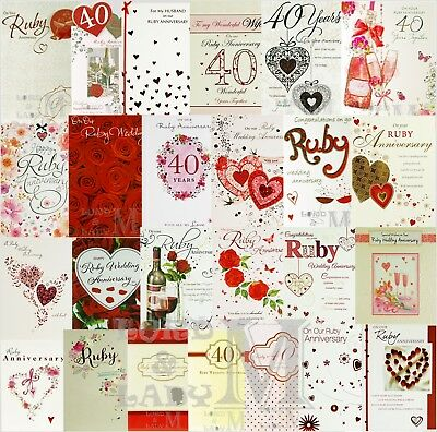40th / Ruby Wedding / Anniversary Card - General & Relations - Various Designs
