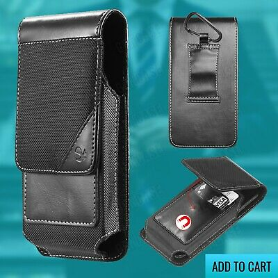 For iPhone XS Max Black Leather Vertical Wallet Pouch w/ Nylon Cover & Carabiner