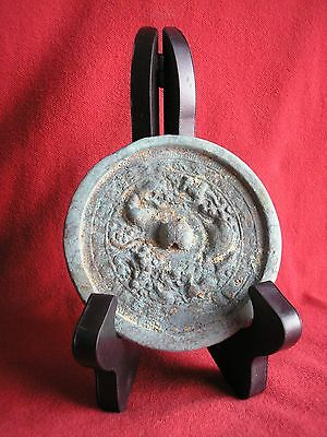 Chinese Tang Dynasty Bronze Mirror W/stand, Ca. 618 - 907 Ad