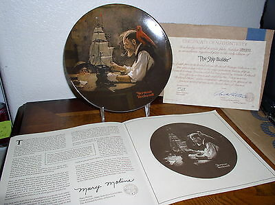 "Rockwell Heritage Series Collector Plate-4'th in series-""The Ship Builder"" COA"