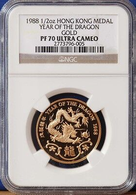 RARE 1988 Hong Kong Gold Dragon PROOF Coin NGC PF70
