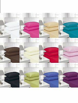 """180 Thread Count Extra Deep Fitted 16""""/40 Cm Sheets Original Percale Top Quality"""