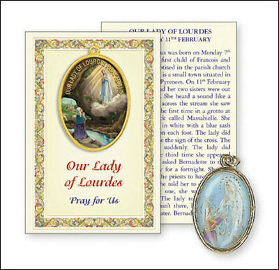 Our Lady Of Lourdes Picture Medal & Prayer Card Statues Candles Pictures Listed