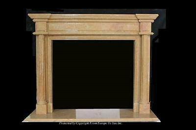 Beautiful Hand Carved Marble Estate Fireplace Mantel - Jd58