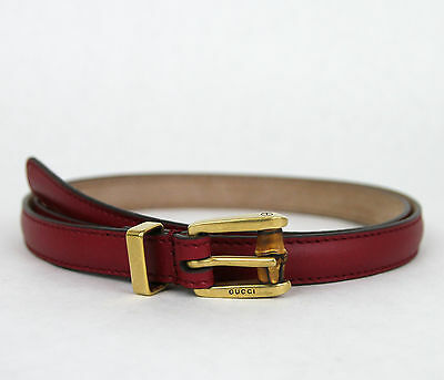 e0c28fc6be3 NEW Authentic GUCCI Leather Belt w Bamboo Buckle Raspberry 339065 6236