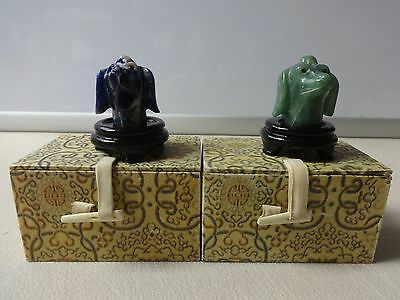 1950's Hand Carved Stone Dog Mini Statues / Jewelry From Asia