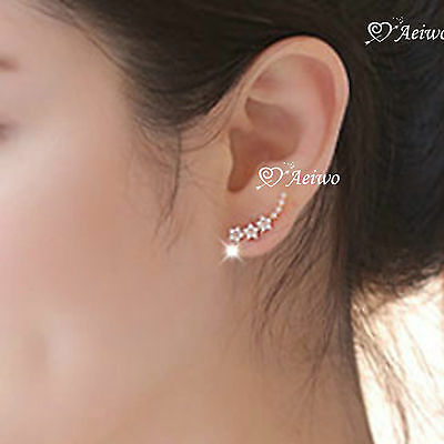 925 Silver Cute Clear Crystal Star Flower  Stud Ear Climbers Earrings
