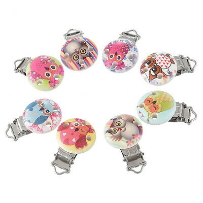 5 Mixte Clips Pinces Crocodile Attache Tétine Hibou Bois Rond Nature 4.5x2.9cm