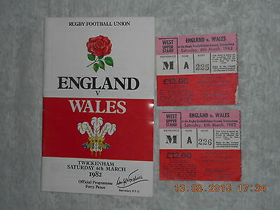 England V Wales  Programme   March 1982 + 2 Tickets