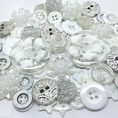 80 Deluxe Ice White Button, Flatback, Embellisments Mix Craft Cardmaking Random