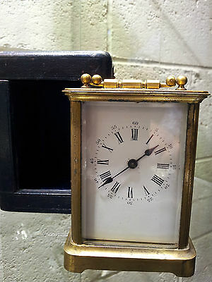 Victorian Brass Carriage Clock Original Leather Carrying Case & Key