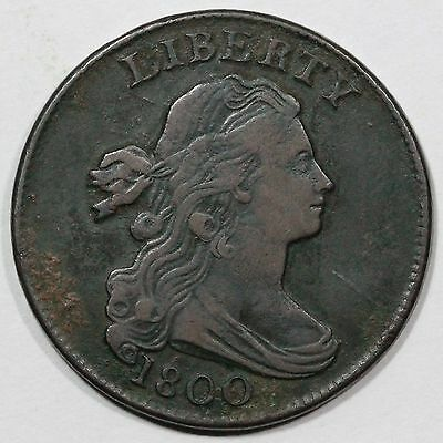 """1800 S-211 R-3 """"Spiked C"""" Draped Bust Large Cent Coin 1c"""