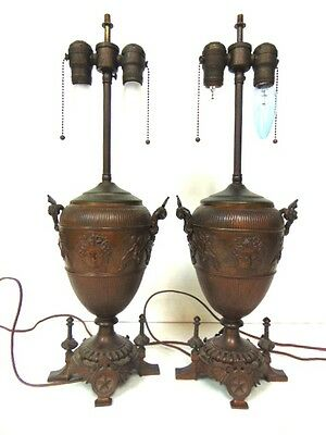 Pr Of Antique French Victorian Art Nouveau Style Bronze ? Lamps W/ Cherubs