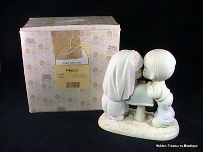 Precious Moments Sealed With A Kiss Porcelain Figurine Bride & Groom By Mailbox