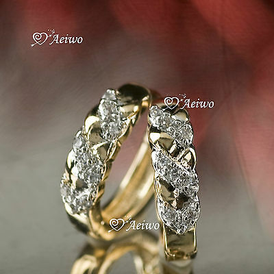 18K Yellow White Gold Gf Huggie Made With Swarovski Crystal Earrings