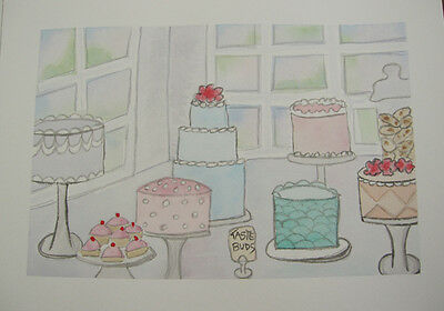 HAND painted WATERCOLOUR TEA artist PICTURE card TASTEBUDS cakes COFFEE cupcake