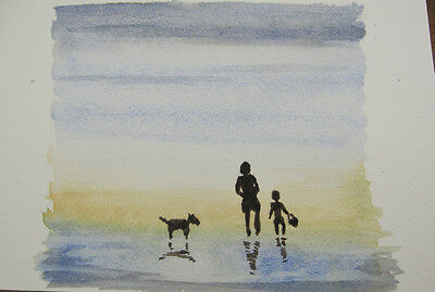 HAND painted WATERCOLOUR H20 artist PICTURE card MOTHER child DOG ocean ART sea