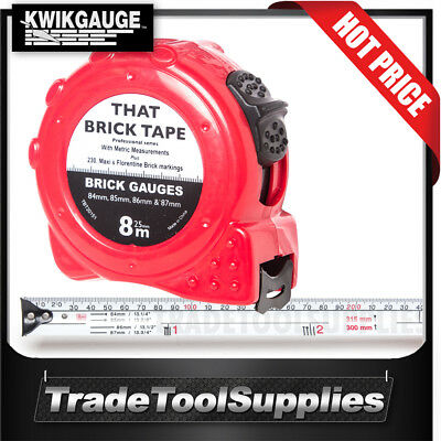 KwikGauge Tape Measure 8m x 25mm Brickies Brick TBT201510