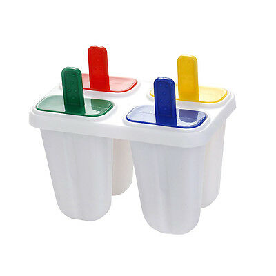 4pcs Cell DIY Ice Cream Mold Popsicle Maker Lolly Mould Tray Home Tool Ice Pop