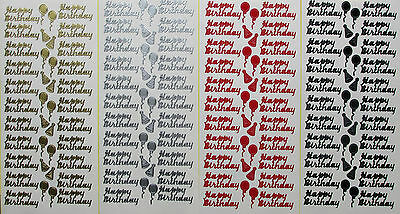 HAPPY BIRTHDAY PEEL OFF STICKERS  Balloons Party Hats Script Cardmaking