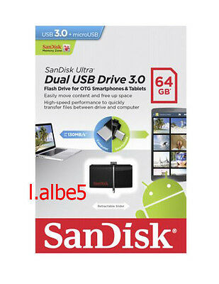 Sandisk Ultra 64GB 64G OTG USB3.0 Dual USB Drive Flash Pen for Android 130MB/s