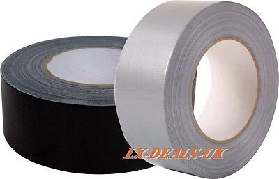"""Duck strong Duct Gaffa Gaffer Waterproof Cloth Tape Silver Black 48mm 2"""" x 50m 6"""