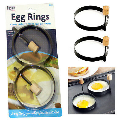 Set Of 2 Non Stick Round Egg Rings Fried Poached Eggs Cooking Mould Fry Rings