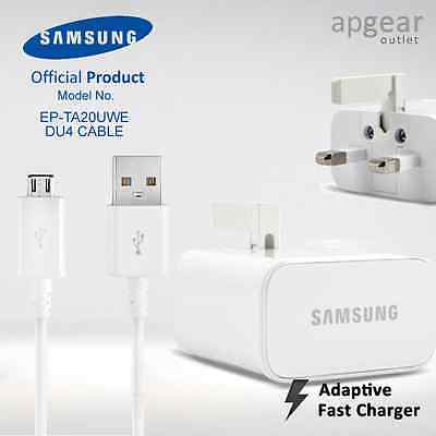 Genuine Samsung Galaxy S6 & S6 Edge Mains Charger UK Cable Fast Quick Charge 2.0