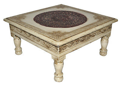 Indian Wooden Furniture Side Table White Painted Chowki Christmas Low Table 11""
