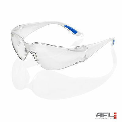B-Brand Vegas Wraparound Clear Lens Safety Glasses - Impact & Scratch Resistant