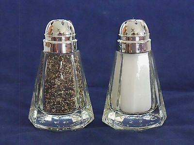 Pair (2) Restaurant Bullet Style Glass Salt and Pepper Shakers; 1.5 oz; Octagon