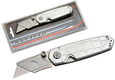 """New Silver 4"""" folding utility knife with Extra Blades. Drywall."""