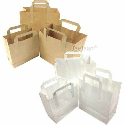 Paper Carrier Bags White Brown SOS Kraft Takeaway  Flat Handles S/M/L Food Lunch