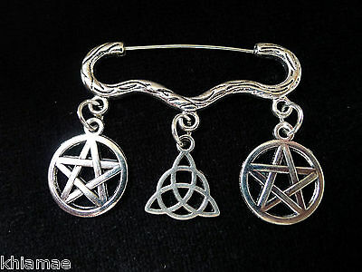"""Spellweaver"" Cloak Brooch pagan silver pin pentacle triquetra wiccan jewellery"