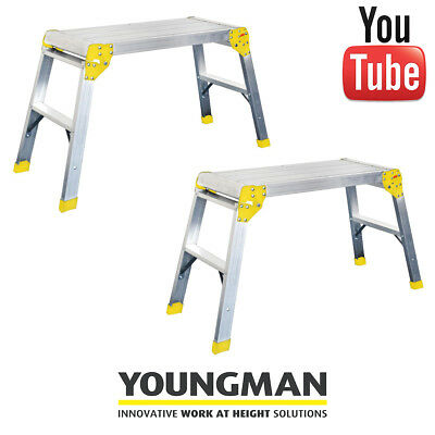 TWO Youngman Odd Jobs | Platform step Ladder Decorator work Bench Folding Steps