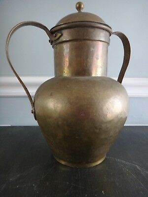 Antique Hammered Brass Urn Dove Tail Seams Tin Lined Water Vessel Funeral Urn?