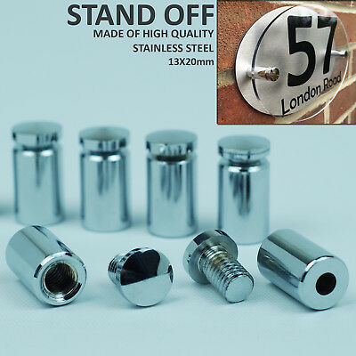 4X Stainless Stand Off Fixings Glass Sign Wall Support Standoff Pins 13X20mm
