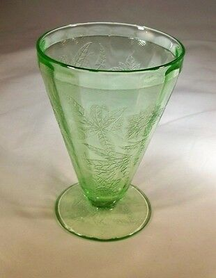 Jeannette Glass Co. Floral Poinsettia Green 7-Ounce Footed Water Tumbler!