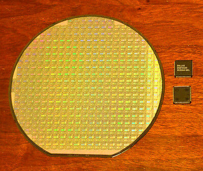 Silicon wafer collectors set - DS87C520 CPU wafer and DS87C520 CPU chip.